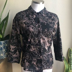ANTHROPOLOGIE Odille Black Button Roses Peter Pan
